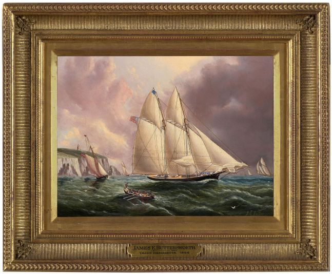 James E. Buttersworth (1817–1894)  Yacht Henrietta Off the Isle of Wight, 1866, oil on board, 9 x 12 in., signed lower right: JE Buttersworth. On reverse: Henrietta off the Isle of Wight (framed)