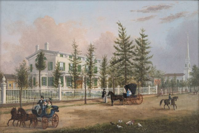 John Evers, Jr. (1797–1884). Front Street, Hempstead, New York, 1870. Oil on canvas. 11 ¾ x 17 in. Unsigned