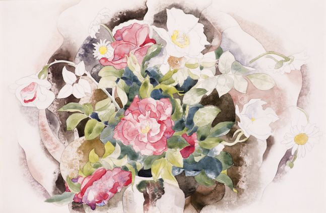 Charles Demuth (1883–1935), Roses, 1926, watercolor and pencil on paper, 11 7/8 x 17 7/8 in., signed and dated center left: C. Demuth 1926
