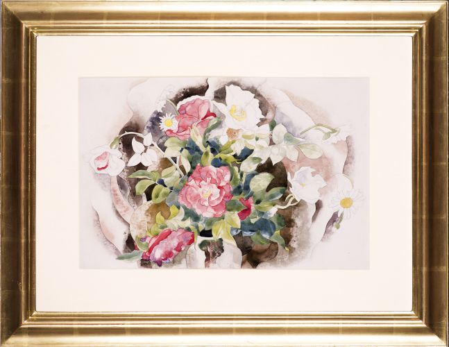 Charles Demuth (1883–1935), Roses, 1926, watercolor and pencil on paper, 11 7/8 x 17 7/8 in., signed and dated center left: C. Demuth 1926 (framed)
