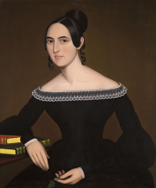 Ammi Phillips (1788–1865), A Portrait of Jeanette Payne, c. 1841, oil on canvas, 33 1/2 x 28 in.