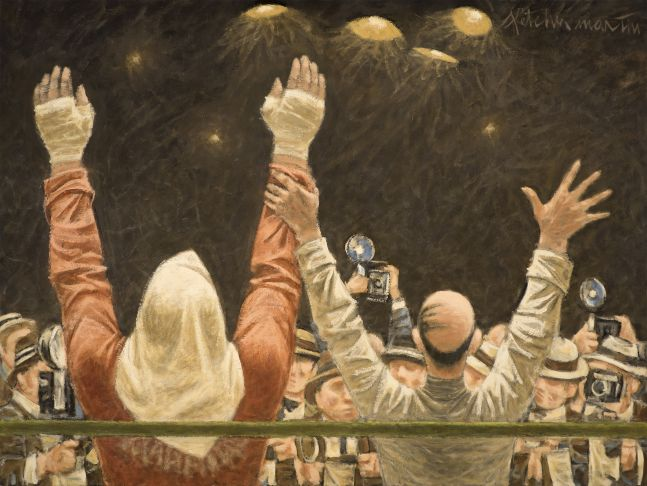 Fletcher Martin (1904–1979), Homage to Rocky Marciano, 1969, oil on canvas, 30 x 40 in., signed upper right: Fletcher Martin