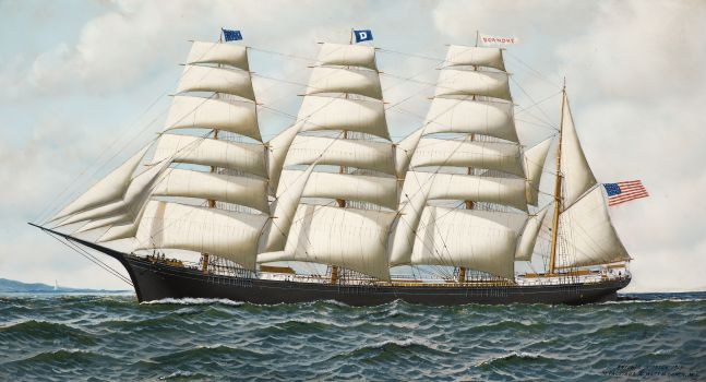 Antonio Jacobsen (1850–1921), The Four Masted Barque Roanoke under full sail, 1914, oil on board, 19 1/2 x 35 1/2 in., signed, dated and inscribed lower right: Antonio Jacobsen 1914/ 31 Palisade Av. West Hoboken. NJ