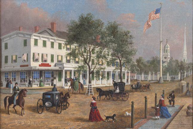 John Evers, Jr. (1794–1884). Northeast Corner, Front Street, Hempstead, New York, 1870. Oil on canvas, 12 x 17 in. Unsigned