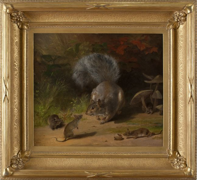 William Holbrook Beard (1824–1900), Squirrel and Mice, 1859. Oil on canvas. 14 1/8 x 16 1/8 in. Signed and dated lower right: W. N. Beard / 1859 (framed)