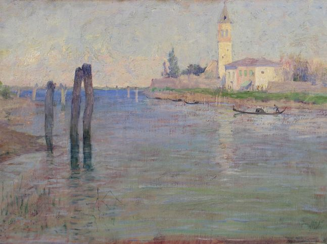 Guy Rose (1867–1925), The Gondolier, Venice, oil on canvas, 12 1/2 x 18 in., signed lower right: Guy Rose