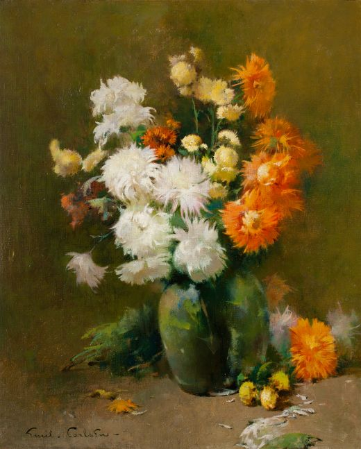 "Søren Emil Carlsen (1853–1932), Chrysanthemums, 1898, oil on canvas, 24 x 20 in., signed lower left: Emil . Carlsen – Inscribed on verso: ""Chrysanthemums"" / Emil Carlsen – / London 98 –"
