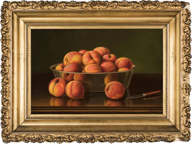 Levi Wells Prentice (1851–1935), Peaches in a Silver Bowl, oil on canvas, 12 x 18 in., signed lower right: L. W. Prentice (framed)