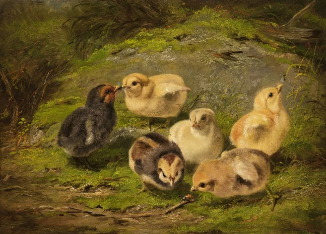 Arthur Fitzwilliam Tait (1819–1905), Chickens, 1865, il on artist board, 10 x 14 in., signed and dated lower right: A. F. Tait / 1865 Inscribed on verso: 402 / AF Tait / 1865