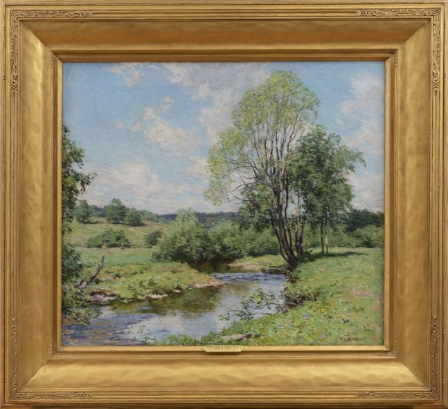 Willard Leroy Metcalf (1858–1925), Green Idleness, 1911, oil on canvas, 26 1/4 x 29 1/4 in., signed lower right: W. L. Metcalf (framed)