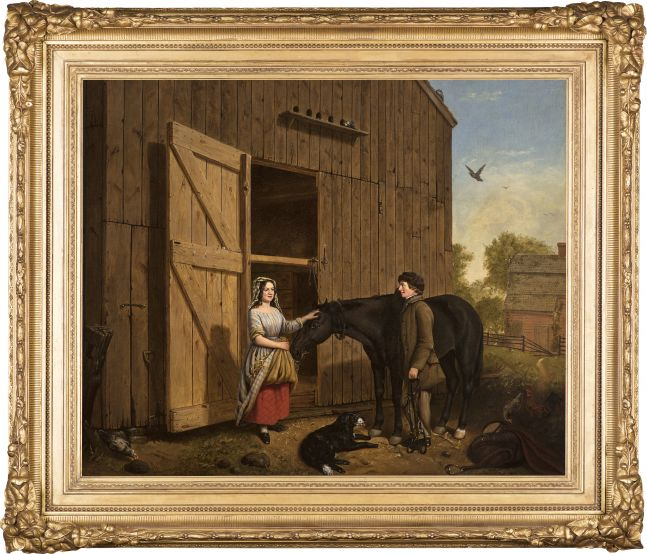 Jerome Thompson (1814–1886), The Rustic Chat, 1850, oil on canvas, 25 x 30 in., signed and dated lower left: Jerome Thompson 1850 (framed)