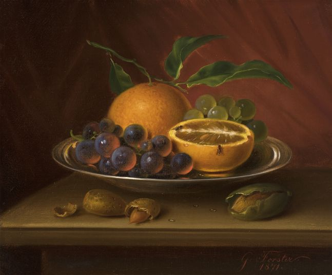 George Forster (1817–1896), Still Life with Fruit, Nuts and Fruit Flies, 1871, oil on canvas, 9 7/8 x 12 in., signed and dated lower right: G. Forster. / 1871.