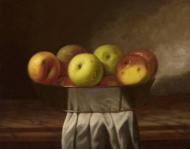 Cadurcis P. Ream (1837–1917), Still Life with Apples, c. 1870, oil on canvas, 16 x 20 in., signed lower right: C. P. Ream
