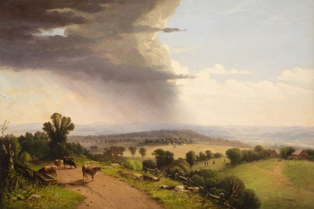 John Williamson (1826–1885), Passing Shower, Upper Valley of the Connecticut River, 1870, oil on canvas, 27 1/8 x 40 in., signed and dated lower left: J. Williamson. 1870. N.Y, inscribed on verso: Passing Shower / Upper Valley of the Connecticut / J Williamson / N.Y. 1870