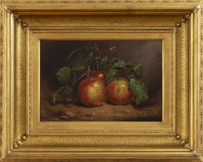 William Rickarby Miller (1816–1888), Study of Apples on a Bough, 1873, oil on board, 8 1/2 x 12 1/2 in. , signed and dated lower left: W. R. Miller 1873 (detail)