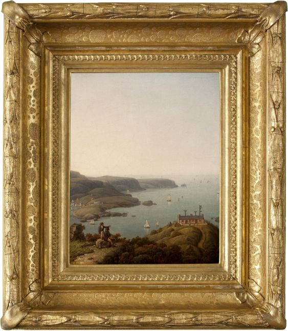 Robert Salmon (1775–c. 1858), South Stack Lighthouse and the Holyhead Signal Station, Anglesey, Wales, 1842, oil on board, 10 x 8 in., titled and dated on verso (framed)