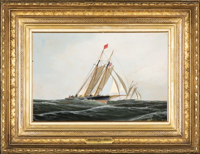 Antonio Jacobsen (1850–1921), The Yacht Race, 1874, oil on board, 9 1/2 x 14 1/4 in., signed and dated lower right: Antonio Jacobsen 1874 (framed)