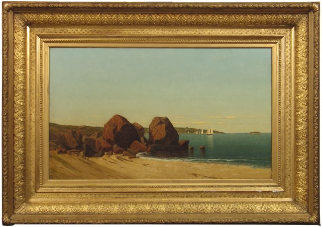 James R. Brevoort (1832–1918), Half Moon Cove at Gloucester Bay, c. 1870, oil on canvas, 18 x 30 in., signed lower left: J. R. Brevoort (framed)