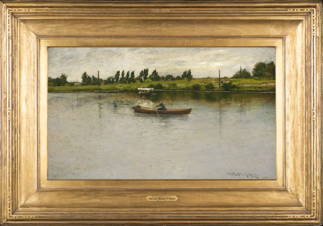 William Merritt Chase (1849–1916), Pulling for Shore, c. 1886, oil on panel, 17 3/4 x 30 in., signed lower right: Wm. M. Chase, framed, a woman rowing on a lake