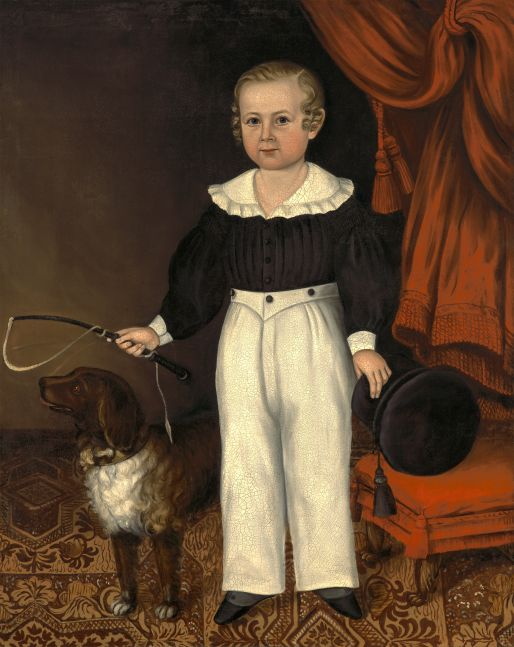Joseph Whiting Stock (1815–1855), Full Length Portrait of a Young Boy with His Dog, ca. 1840-45, oil on canvas, 47 x 38 in.