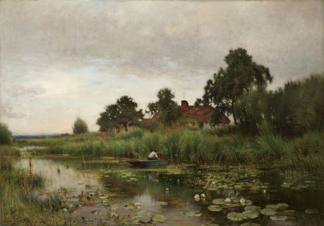 Ernest Parton (1845–1933), The Lily Pond, 1891, oil on canvas, 42 x 60 1/8 in., signed lower left: Ernest Parton 1891