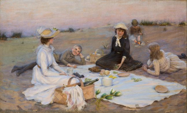 Charles Courtney Curran (1861–1942), Picnic Supper on the Sand Dunes, 1890, oil on canvas, 12 x 20 in., signed, dated, and titled lower right: Chas. C. Curran 1890 / Picnic Supper on / the Sand Dunes