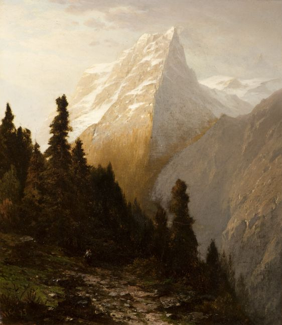 John William Casilear (1811–1893), Alpine Scenery, 1873, oil on canvas, 13 x 11 in., signed and dated lower left: JWC 73 Old label on verso inscribed: J. W. Casilear / 16. Alpine Scenery