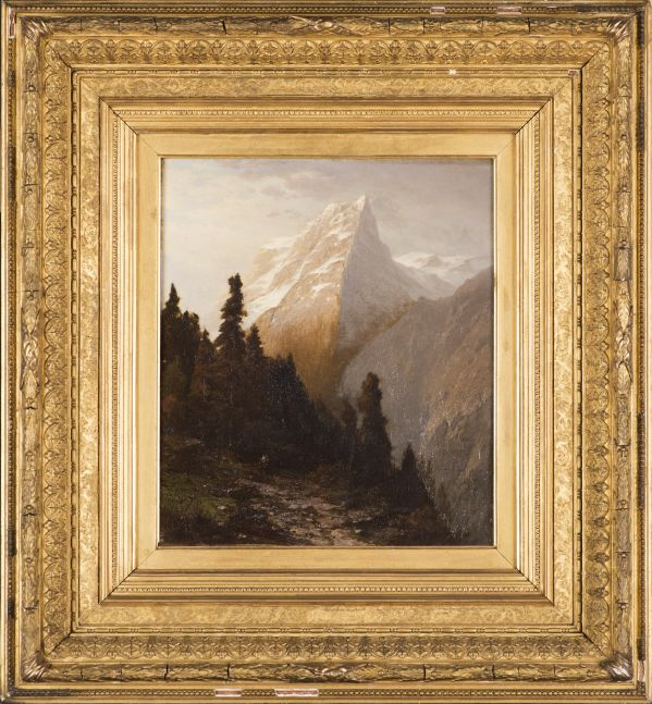 John William Casilear (1811–1893), Alpine Scenery, 1873, oil on canvas, 13 x 11 in., signed and dated lower left: JWC 73 Old label on verso inscribed: J. W. Casilear / 16. Alpine Scenery (framed)