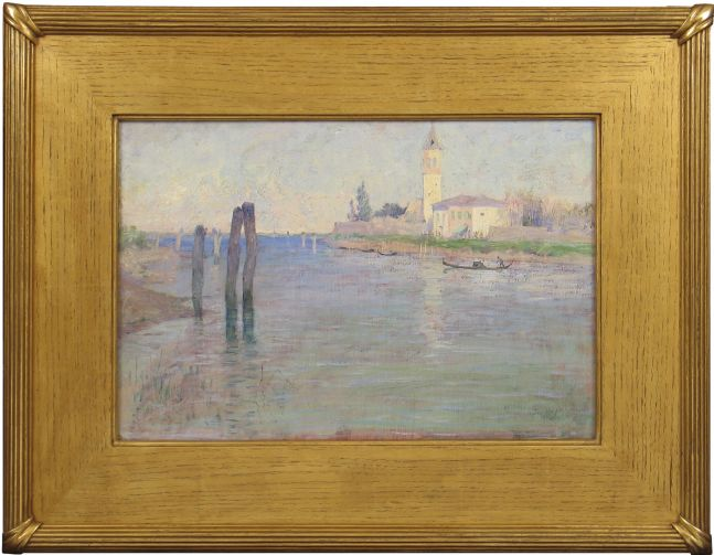 Guy Rose (1867–1925), The Gondolier, Venice, oil on canvas, 12 1/2 x 18 in., signed lower right: Guy Rose (framed)