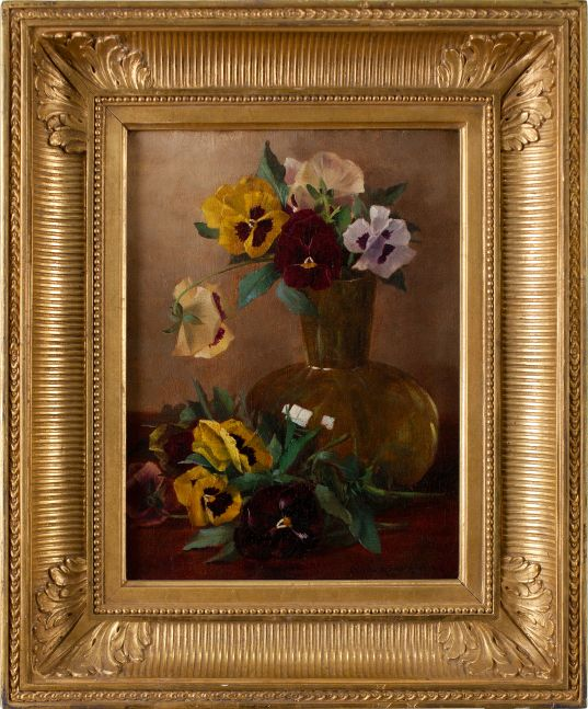 Claude Raguet Hirst (1855–1942)  Pansies in a Glass Vase, c. 1882. Oil on canvas. 12 x 9 in. Signed lower right: Claude Raguet Hirst NY (framed)