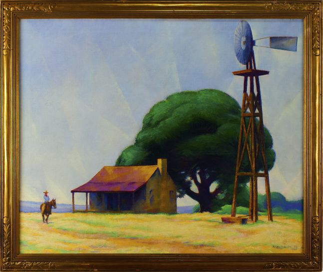 Ralph D. McLellan (1884–1977). Rider on the Ranch, San Marcos, Texas, 1928, oil on canvas, 30 x 36 in., signed and dated lower right: Ralph McLellan / '28 (framed)