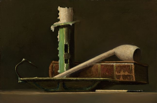 John F. Peto (1854–1907), Still Life with Green Candlestick and Book, c. 1890, oil on panel, 6 x 9 in.