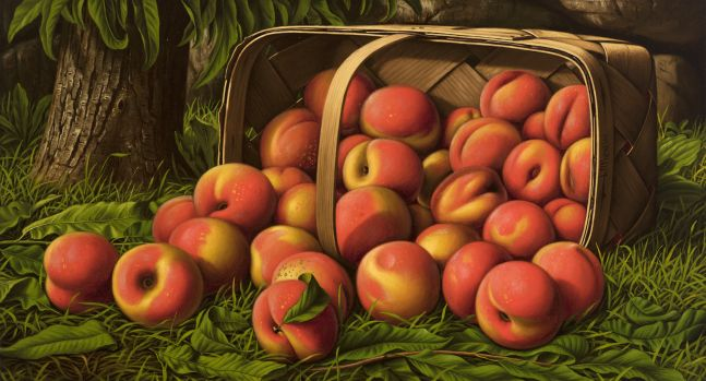 Levi Wells Prentice (1851–1935), Peaches in a Basket Under a Tree, oil on canvas, 12 x 22 in., signed on basket: L. W. Prentice