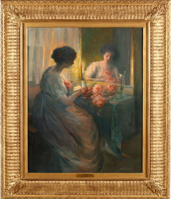 Hallie Elizabeth Champlin-Hyde (1880–1935). The Floral Gift (The Love Letter), 1910. Oil on canvas. 40 x 32 in. Signed, dated, inscribed lower right (framed)