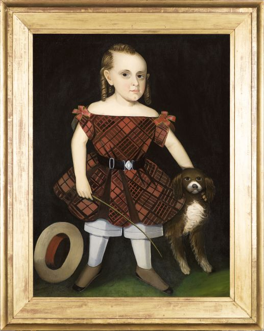 Ammi Phillips (1788–1865), Portrait of a Child in a Plaid Dress with a Dog, oil on canvas, 37 1/2 x 28 1/4 in. (framed)