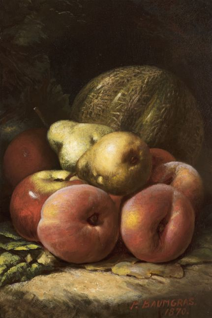 Peter Baumgras (1827–1903), Still Life with Fruit, 1870, oil on board, 12 x 8 in., signed and dated lower right: P. Baumgras / 1870