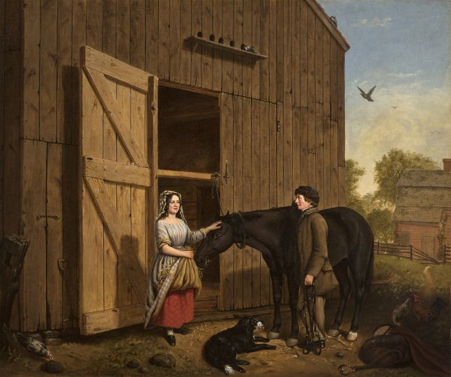 Jerome Thompson (1814–1886), The Rustic Chat, 1850, oil on canvas, 25 x 30 in., signed and dated lower left: Jerome Thompson 1850