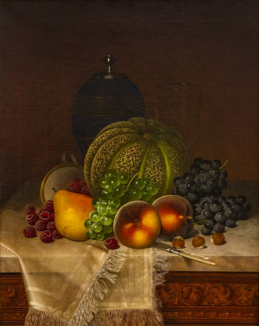William Mason Brown (1828–1898), Still Life with Fruits, Samovar and Teacup, c. 1875, oil on canvas, 20 x 16 in., signed lower right: WM Brown