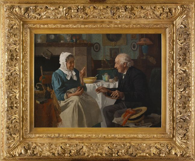 Louis Charles Moeller (1855–1930), Spinning Yarns, c. 1890, oil on canvas, 18 x 24 in., signed lower right: Louis Moeller NA (framed)