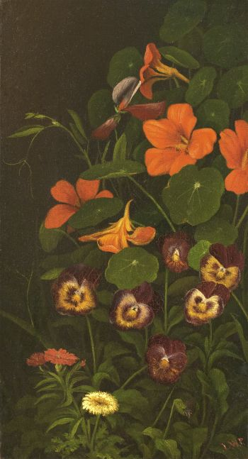 Levi Wells Prentice (1851–1935), Pansies and Nasturtiums, c. 1890, oil on canvas, 11 1/2 x 6 1/2 in., signed lower right: L. W. P.
