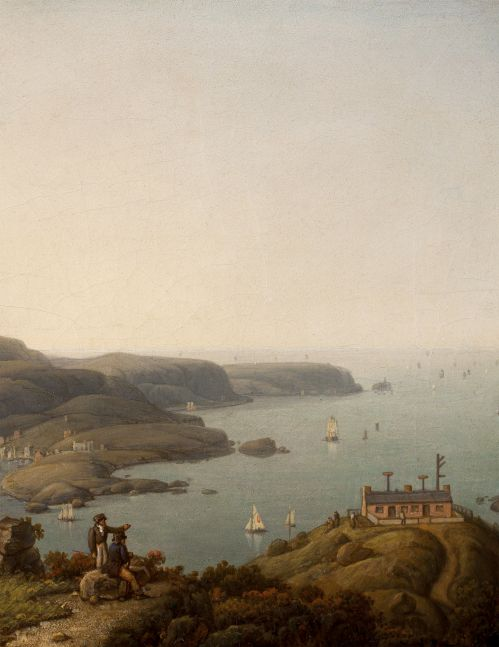 Robert Salmon (1775–c. 1858), South Stack Lighthouse and the Holyhead Signal Station, Anglesey, Wales, 1842, oil on board, 10 x 8 in., titled and dated on verso