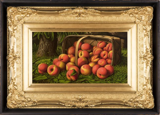 Levi Wells Prentice (1851–1935), Peaches in a Basket Under a Tree, oil on canvas, 12 x 22 in., signed on basket: L. W. Prentice (framed)
