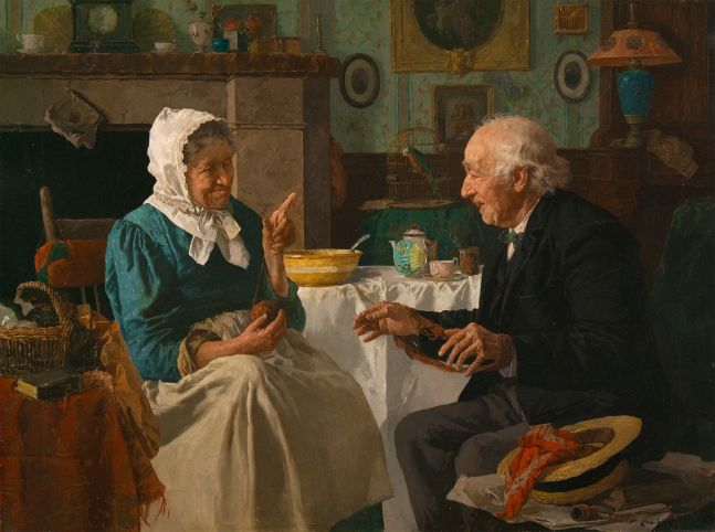 Louis Charles Moeller (1855–1930), Spinning Yarns, c. 1890, oil on canvas, 18 x 24 in., signed lower right: Louis Moeller NA