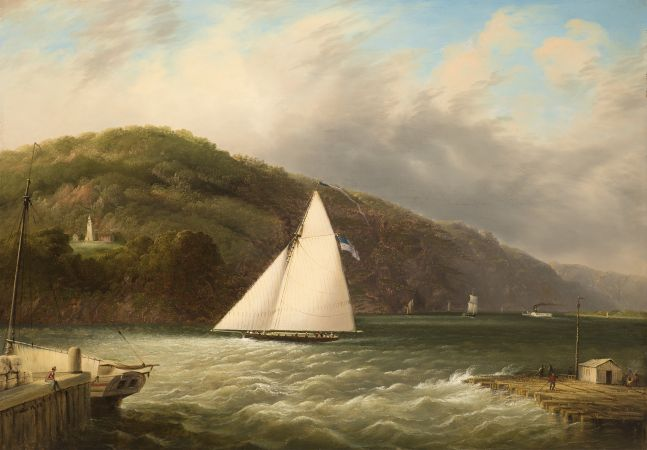 Edmund C. Coates (1816–1871), Yachting on the Hudson, 1863, oil on canvas, 24 x 34 in., signed and dated lower left: E.C. Coates 1863