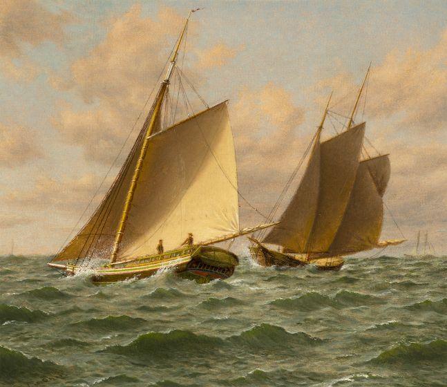 William M. Davis (1829-1920), Schooners at Sea: A Close Shave  oil on canvasboard, 12 x 14 in., signed lower left: Wm M. Davis