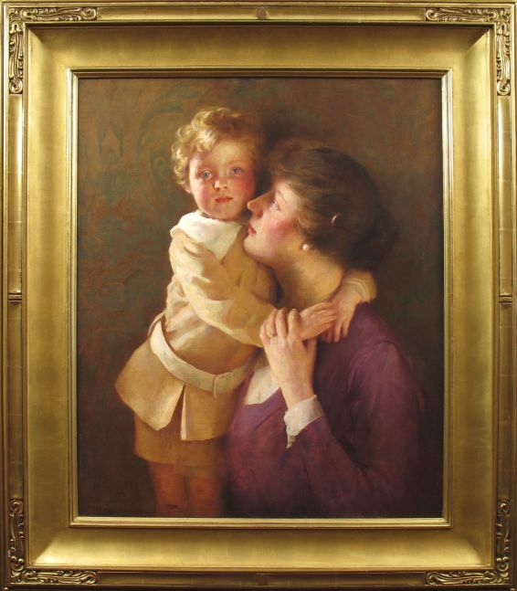 William Henry Cotton (1885–1958) Sonny: Portrait of the Artist's Wife and Son. Oil on canvas, 30 1/4 x 25 1/4 in. Signed lower left: WH Cotton (framed)