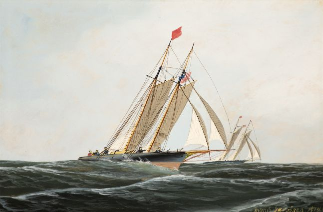 Antonio Jacobsen (1850–1921), The Yacht Race, 1874, oil on board, 9 1/2 x 14 1/4 in., signed and dated lower right: Antonio Jacobsen 1874