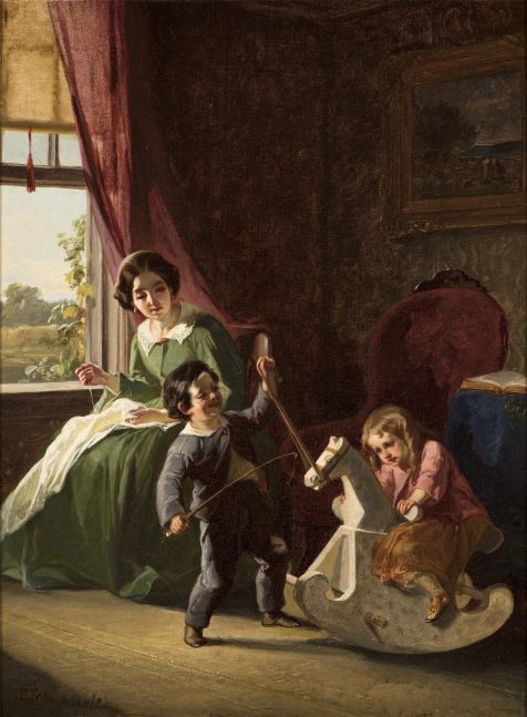 Christian Schussele (1824–1879)  The Rocking Horse, c. 1850, oil on canvas, 16 x 12 in., signed lower left: C. Schussele