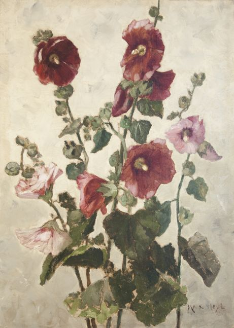 Max Weyl (1837–1914), Hollyhocks, c. 1881, oil on canvas, 21 1/4 x 15 in., signed lower right: Max Weyl / 8…