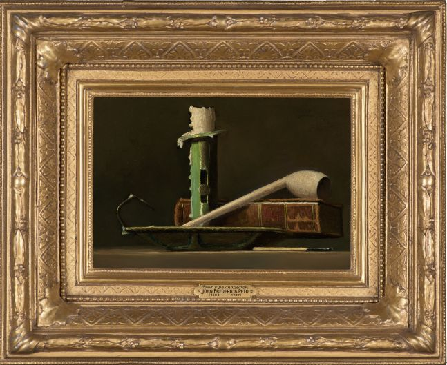 John F. Peto (1854–1907), Still Life with Green Candlestick and Book, c. 1890, oil on panel, 6 x 9 in. (framed)